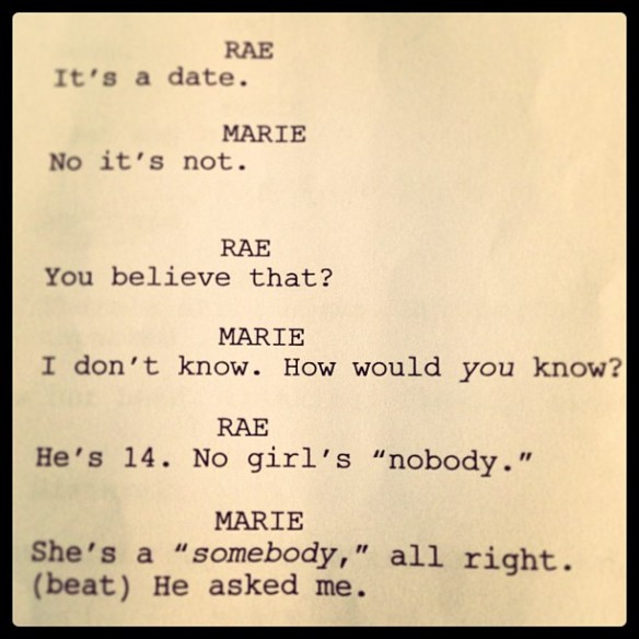 From the draft script for SPARE ROOMS.